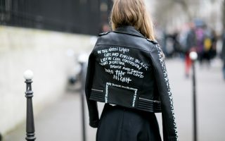 Slogan leather jacket