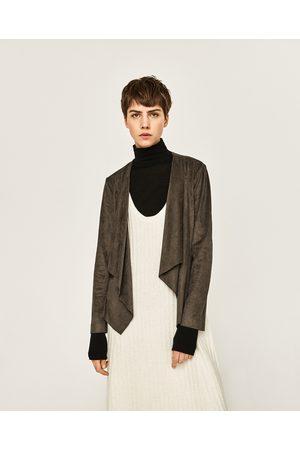 Women Leather Jackets - Zara FAUX SUEDE FLOWING LAPEL JACKET
