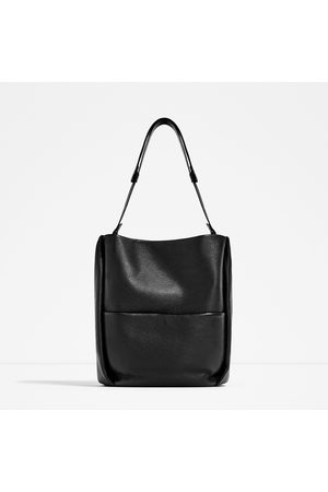 Women Bags - Zara LEATHER BUCKET BAG WITH POCKET