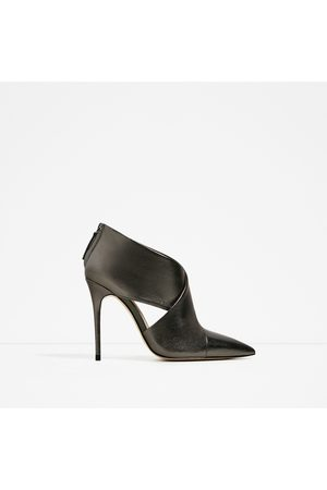 Women Ankle Boots - Zara LEATHER CROSSOVER ANKLE BOOTS