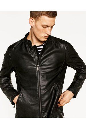 Men Leather Jackets - Zara FAUX LEATHER JACKET
