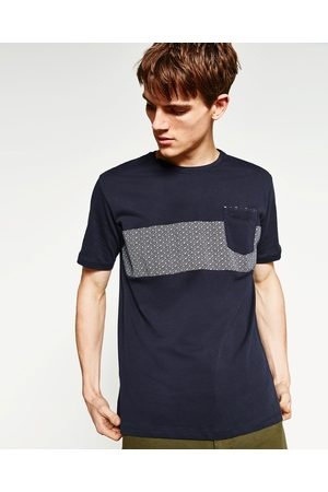 Men T-shirts - Zara CONTRAST FABRIC T-SHIRT - Available in more colours