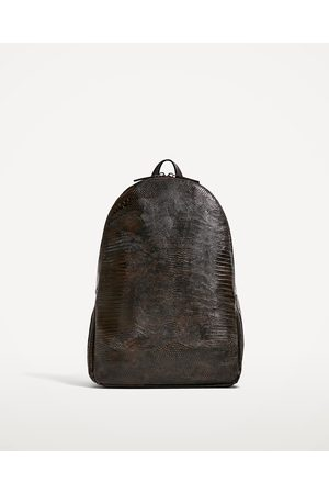 "Men Rucksacks - Zara REPTILE-EFFECT BACKPACK FOR 13"" LAPTOP - Available in more colours"