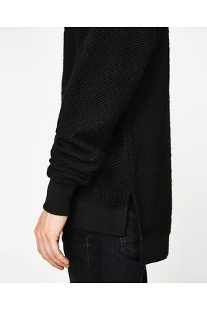 Men Sweatshirts - Zara TEXTURED DARK SWEATSHIRT