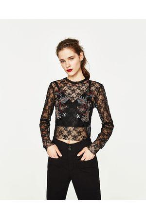 Women T-shirts - Zara EMBROIDERED LACE T-SHIRT