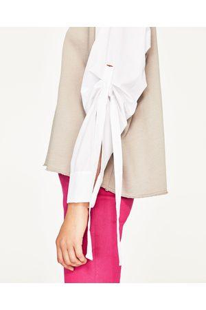 Women Long Sleeve - Zara OVERSIZED LONG SWEATSHIRT WITH POPLIN SLEEVES