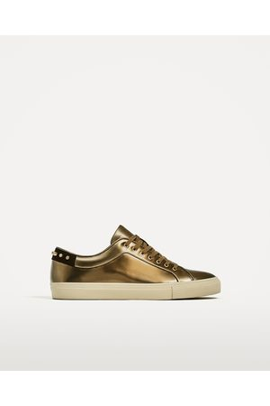 Men Casual Shoes - Zara STUDDED LAMINATED PLIMSOLLS - Available in more colours