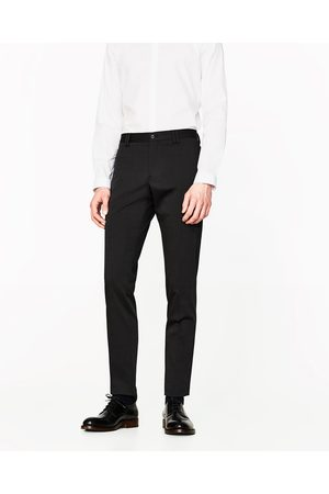 Men Trousers - Zara CHECKED TECHNICAL TROUSERS