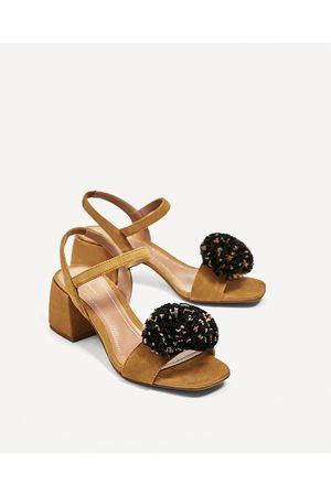 6d0390ebac2 Women Sandals - Zara SANDALS WITH RAFFIA POMPOM