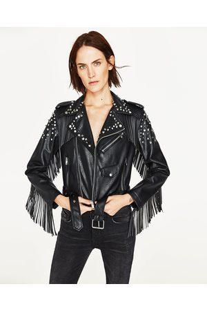 Women Leather Jackets - Zara FRINGED FAUX LEATHER JACKET