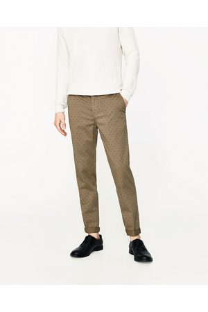 Men Chinos - Zara MICRO PRINT CHINO TROUSERS - Available in more colours