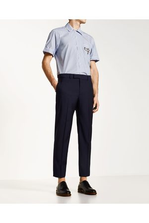 Men Trousers - Zara NAVY WOOL TROUSERS