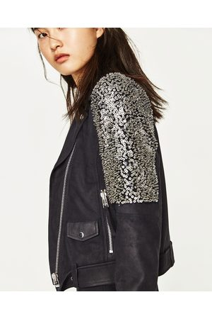 Women Jackets - Zara BIKER-STYLE JACKET WITH EMBROIDERED SHOULDERS