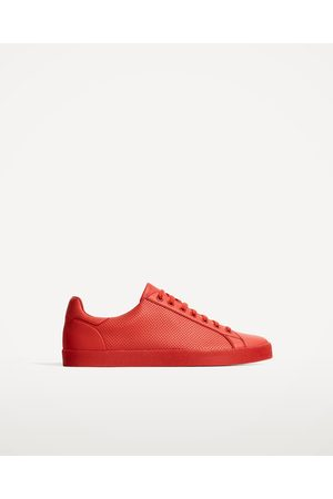 Men Casual Shoes - Zara RED PERFORATED PLIMSOLLS