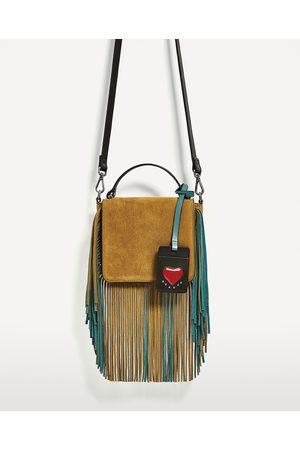 Women Shoulder Bags - Zara CROSSBODY BAG WITH FRINGING