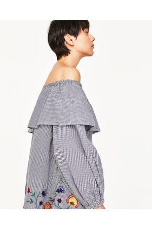 Women Blouses - Zara EMBROIDERED GINGHAM BLOUSE