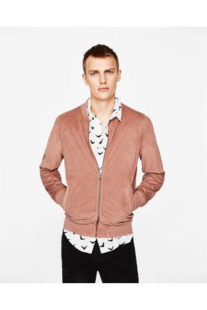 Men Leather Jackets - Zara FAUX SUEDE BOMBER JACKET