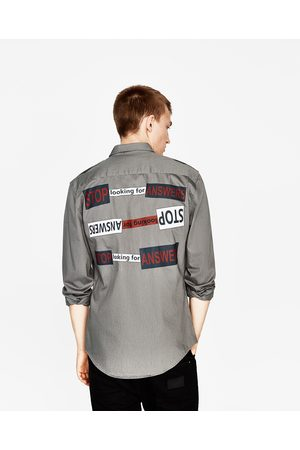 Men Zara OVERSHRT WITH BACK SLOGAN