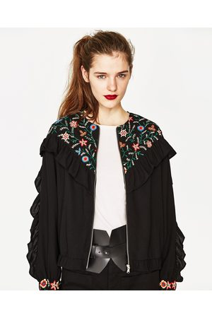 Women Jackets - Zara EMBROIDERED JACKET WITH FRILLS