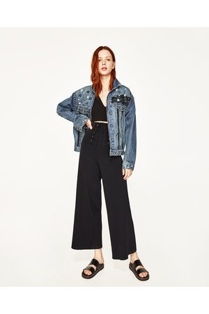 Women Denim Jackets - Zara DENIM JACKET WITH METALLIC DETAILS