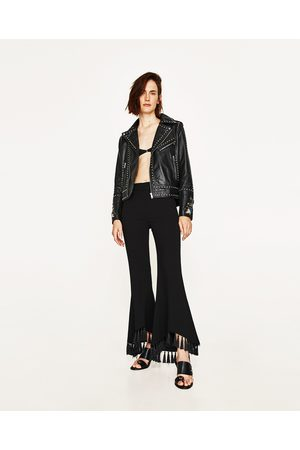 Women Leather Jackets - Zara FAUX LEATHER EMBROIDERED JACKET WITH METALLIC DETAILS