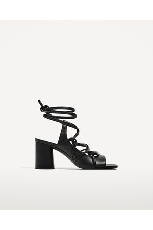 862d8d3b2b86 Women Zara LEATHER STRAPPY HEELED SANDALS