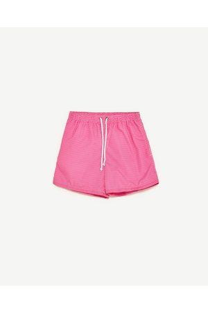 Men Swim Shorts - Zara PLAIN MICRO-PRINT SWIMMING TRUNKS
