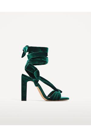 940a8eb2ec31 Women Heels - Zara VELVET LACE-UP HIGH HEEL SANDALS