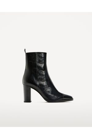 Women Ankle Boots - Zara LEATHER HIGH HEEL ANKLE BOOTS