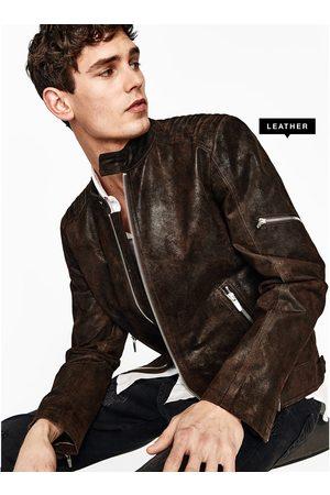 Men Leather Jackets - Zara LEATHER BIKER JACKET