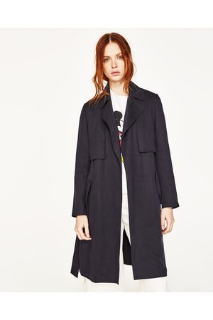Women Trench Coats - Zara FLOWING TRENCH COAT WITH GINGHAM CHECK LINING - Available in more colours