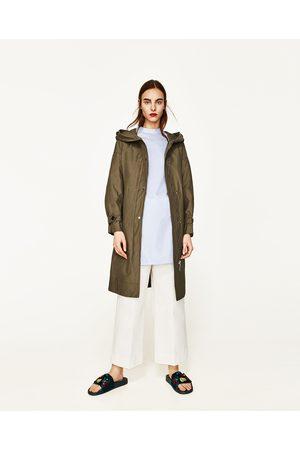 Women Trench Coats - Zara LONG TRENCH COAT WITH HOOD