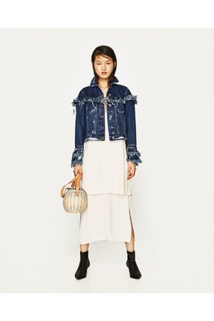 Women Denim Jackets - Zara FRINGED DENIM JACKET