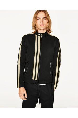 Men Jackets - Zara CONTRAST STRIPE JACKET