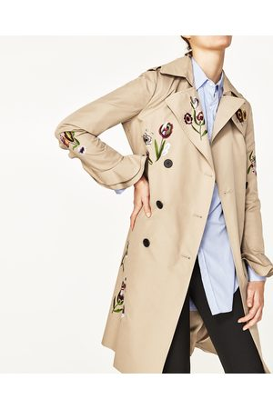 Women Trench Coats - Zara EMBROIDERED TRENCH COAT