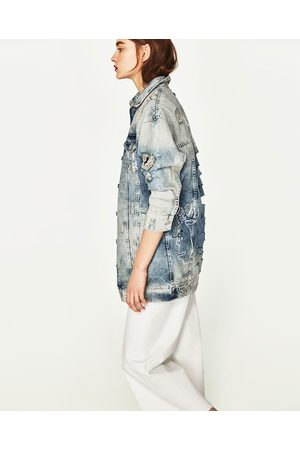 Women Denim Jackets - Zara PRINTED DENIM JACKET