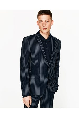 Men Blazers - Zara NAVY BLUE STRIPED BLAZER