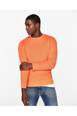 Men Jumpers & Sweaters - Zara TEXTURED WEAVE COTTON SWEATER - Available in more colours