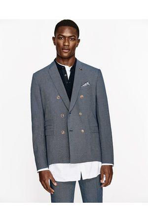 Men Blazers - Zara NAVY BLUE STRIPED SUIT BLAZER