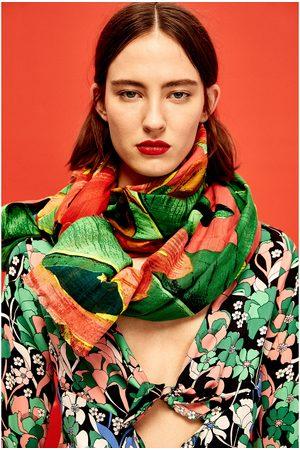 Women Scarves - Zara TROPICAL FLORAL PRINT SCARF
