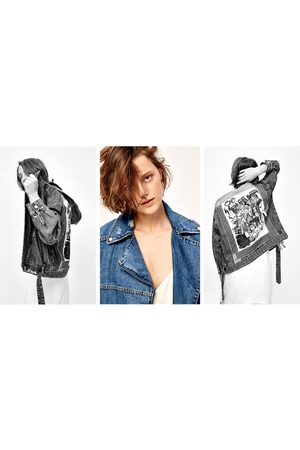 Women Denim Jackets - Zara DENIM JACKET WITH DESIGN