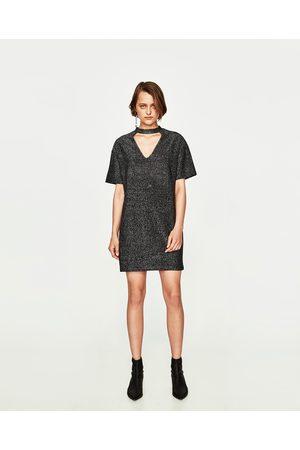 Women Midi Dresses - Zara SHIMMERY CHOKER MIDI DRESS