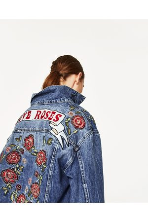 Women Denim Jackets - Zara DENIM JACKET WITH EMBROIDERED ROSES