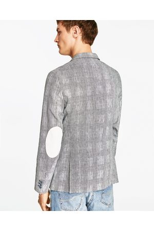 Men Blazers - Zara LINEN BLAZER WITH ELBOW PATCHES