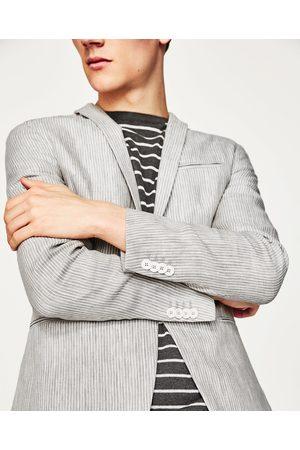 Men Blazers - Zara STRIPED LINEN BLAZER