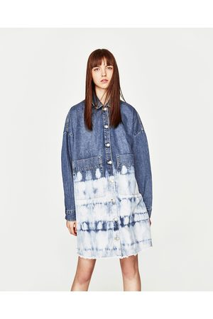 Women Denim Jackets - Zara LONG DENIM JACKET