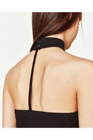 Women Strapless Tops - Zara STRAPLESS CHOKER NECK TOP