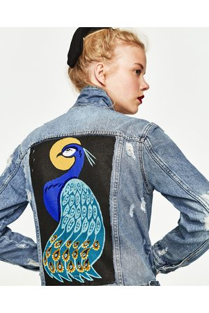 Women Denim Jackets - Zara DENIM JACKET WITH PEACOCK PRINT