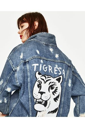 Women Denim Jackets - Zara OVERSIZED DENIM JACKET WITH TIGER PRINT