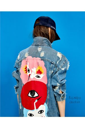 Women Denim Jackets - Zara OVERSIZED DENIM JACKET WITH EYES DESIGN